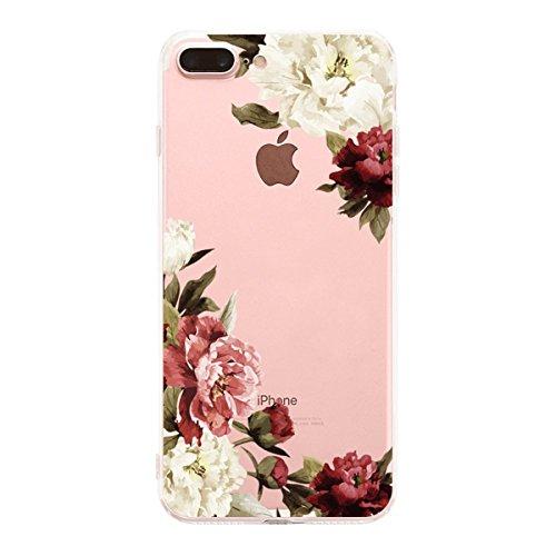 iPhone 7Plus Fall, iPhone 8Plus Fall, matop Blumenmuster Blumen Blossom Bedruckt Clear Slim weich Silikon Gummi TPU Bumper Schutz Back Cover für iPhone 7Plus/8Plus, 7 -