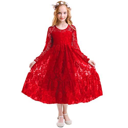 Fymnsi ragazze fiore di pizzo manica lunga principessa vestito abito da cerimonia natale costume eleganti bambina abiti da nuziale damigella d'onore festa di compleanno vestiti ragazza rosso 6-7 anni