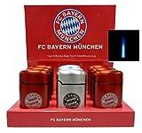 Lifestyle-Ambiente 9 Stück FC Bayern München Jetflamme-Feuerzeug - Sturmfeuerzeug Edelstahl Mettalic inkl Tastingbogen