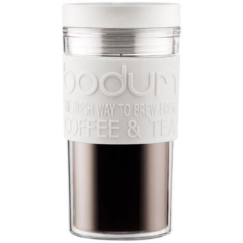 Bodum 11684-913Tazza Da Viaggio Travel Mug, 0,35l in plastica 8x 8x 17cm, Bianco