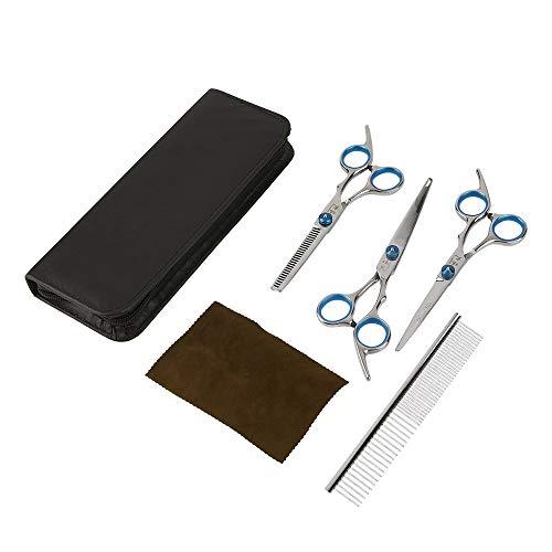 Professionelle Pet Grooming Scissors Set Haarschneidescheren Set Straight & Ausdünnung & Curved Shears Comb Pet Haircut Tools - Silber Shear Blade Set