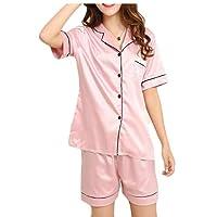 GAGA Women' Silk Satin Pajamas Set Two-Piece Button-Down Sleepwear Loungewear 6 XL