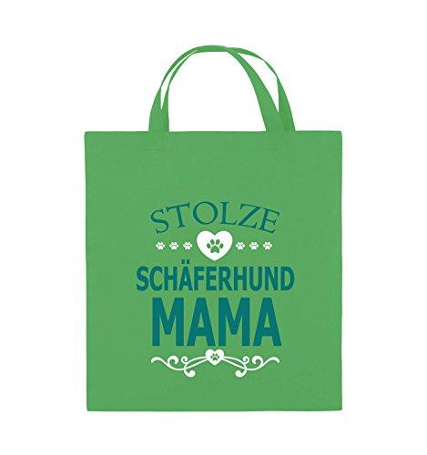 Comedy Bags - Stolze Schäferhund Mama - HERZ - Jutebeutel - kurze Henkel - 38x42cm - Farbe: Schwarz / Weiss-Neongrün Grün / Türkis-Weiss