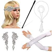 Beelittle 1920s Accessories Set for Women Flapper Headband Pearl Necklace Gloves Cigarette Holder for Great Gatsby Party (M11)