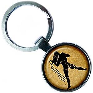 Zodiac Aquarius Tierkreis Wassermann Silver Keychain Silber Schlüsselanhänger