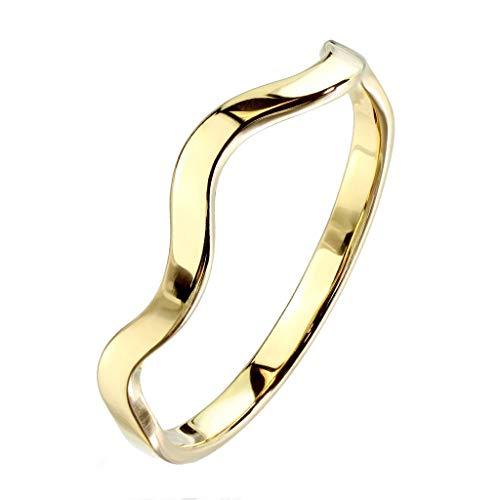 Paula & Fritz® stapelbarer Damen-Ring 3mm Silber Gelb-Gold Rosé-Gold Bunt Gewundene Linie Freundschafts-Ring Partner-Ring Edelstahl 316L R-M6928G_80