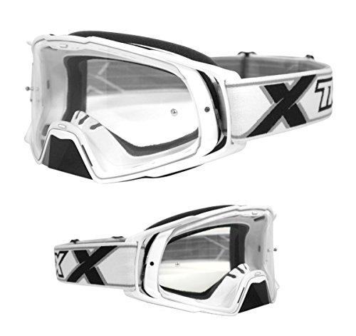 TWO-X Rocket Crossbrille Weiss klar MX Brille Motocross Enduro Klarglas Motorradbrille Schutzbrille mit Nasenschutz Anti Scratch Fast Change