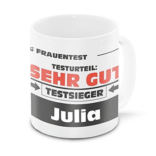 Namens-Tasse Julia mit Motiv Stiftung Frauentest, weiss   Freundschafts-Tasse - Namens-Tasse