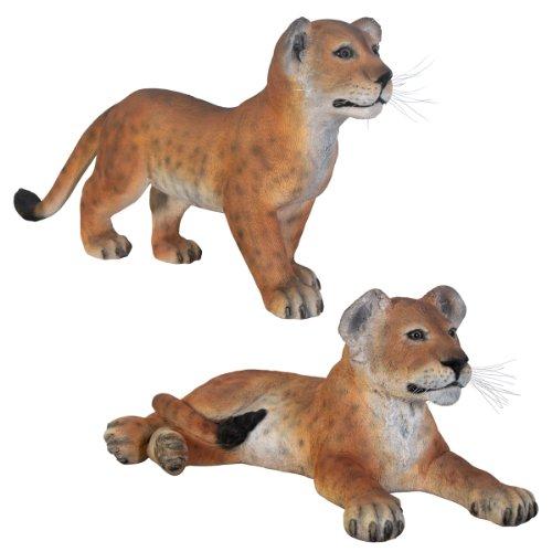 Design Toscano Das Großwildtiere-Kollektion - Löwenbaby-Statuen-Set: Stehend und - Outdoor-löwen-statuen