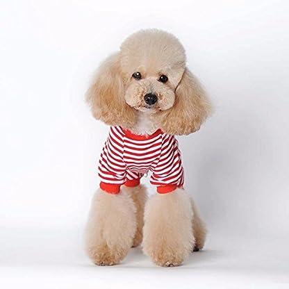 Doggie Style Store Red Striped Dog Pet Cat Pyjamas Sailor Anchor Pajamas Jumpsuit Nightwear Onesie Suit Size S 5