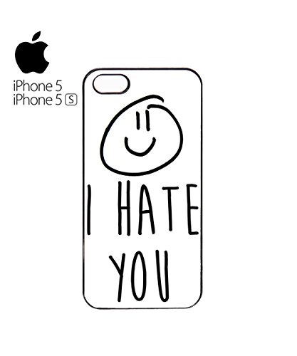 I Hate You X Smiley Mobile Cell Phone Case Cover iPhone 5c Black Blanc