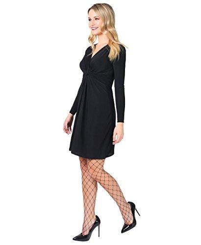 KRISP® Umstandsmode Knoten Kleid Langarm Gerafft Gebunden Schwarz (9878)