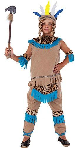 en - Indianer Kostüm Kinder beige-blau Fasching Karneval - Indianer Kostüm Jungen (122/128) (Jungen Kostüme)