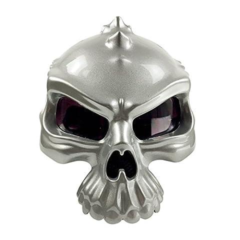 Motorrad Helm Street Bike Scooter Open Face Helm 3D Totenkopf Hälfte Helm [matt schwarz glänzend schwarz silber gold weiß] (Medium Large X-Large) - L
