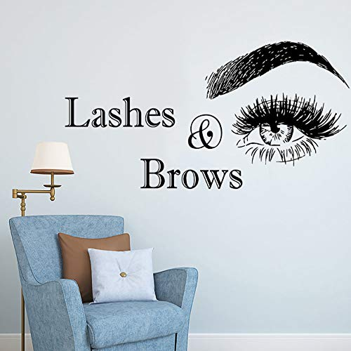 WWYJN Wall Vinyl Decal Lashes and Brows Logo Wall Sticker Beauty Salon Decoration Vinyl Stickers for Wall Eyelashes Make Up Art red 80x42cm - Salon Lash Kit