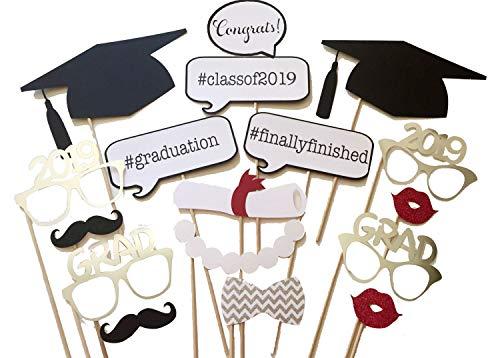 Losuya 2019 Graduation Photo Booth Requisiten 17 stücke Brille Schnurrbart rote Lippen Fliege auf Sticks