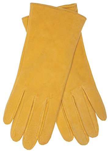 EEM Damen Leder Handschuhe JESSICA aus Lammnappaleder, modisch, elegant, warm, Yellow S