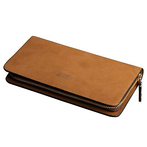 Oneworld Herren Rindleder Clutch Handyetui Universalbörse Geldbörse Börse Geldbeutel Geldtasche Portemonnaie 10.5x20x2.2cm(BxHxT) Khaki Khaki