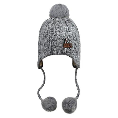 Babymütze Kinder Wintermütze Kindermütze Strickmütze Baby Beanie Baskenmütze warm Winter Haube Kapuze Mützen Hüte für Mädchen Jungen, Grau, Einheitsgröße