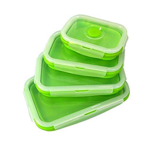 Wolecok–Bento de silicona plegable, contenedores para almacenamiento de alimentos, caja de almuerzo, apto para congelador y horno