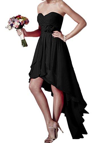 ivyd ressing robe HI-LO forme de cœur Fleurs Mousseline Party Prom robe Lave-vaisselle robe robe du soir Schwarz