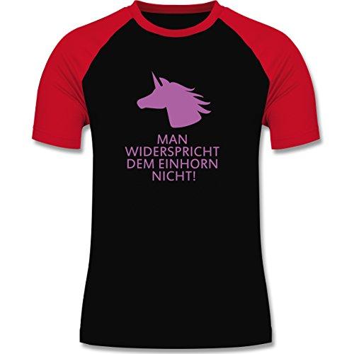 Nerds & Geeks - Einhorn - man widerspricht dem Einhorn nicht! - zweifarbiges Baseballshirt für Männer Schwarz/Rot