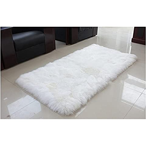 Avorio crema pelliccia vera pelle di pecora, Tappeto rettangolare 70 x 140 cm, Lana, Bianco, 50*80cm