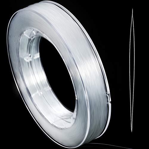 200 m Klare Nylon Unsichtbare Faden String für Hängende Weihnachtsschmuck, Armbandherstellung, Nähen Hobby, Klare Perlfaden mit Perlennadel (0,45 mm) -