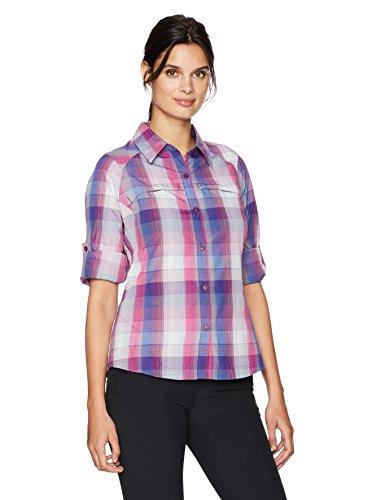 Columbia Damen Silber Ridge Plaid Long Sleeve Shirt, Damen, Deep Blush Ombre Plaid