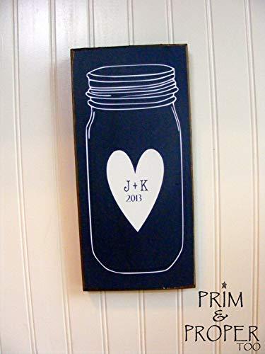 Zhaoshoping Mason Jar Personalisiertes Schild aus Holz, witziges Handwerk, Wanddekoration