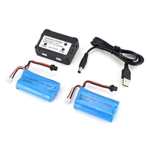 Skytech-batterie (Mollack 7,4 V 1500 mAh Batterie, 2 Stück 7,4 V 1500 mAh SM Stecker wiederaufladbare Li-Ion-Batterie mit 2 in 1 Ladegerät für RC Boot Skytech H100 Syma Q1 Teile Zubehör)