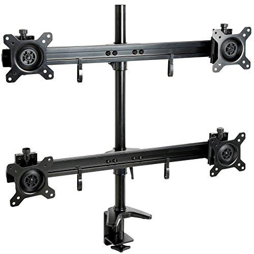 """Mool - Supporto professionale da scrivania per 4 schermi LED / LCD da 15-24"""", carico fino a 32 kg, nero"""