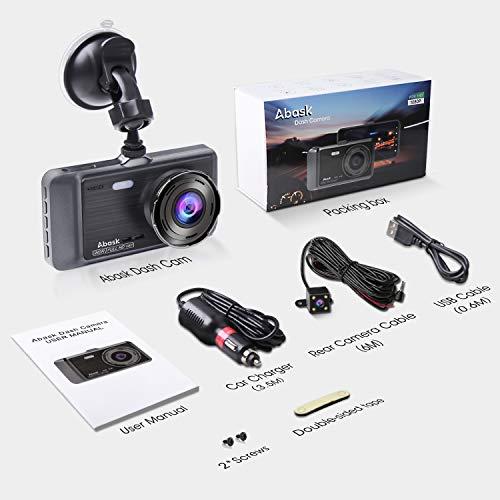 """4100KaVjBHL - Cámara de Coche, Abask Dash CAM 4"""" Visión Nocturna Full HD 1080P, 170° Gran Ángulo Cámara de Delantero y Trasero con Sensor G, WDR, grabación de Bucle, Monitor de Aparcamiento, Sensor Movimiento"""