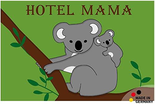 matches21 Fußmatte Fußabstreifer Flat Schriftzug Hotel Mama & Koalabär 44x67x0,5 cm Flache Textil Oberfläche waschbar