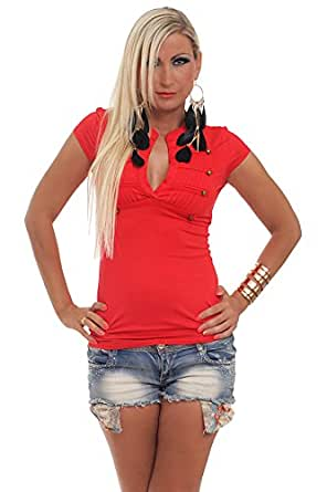 5522 Fashion4Young Damen raffiniertes Kurzarm-Shirt in Longform verfügbar in 7 Farben (One Size 34 36 38, Rot)