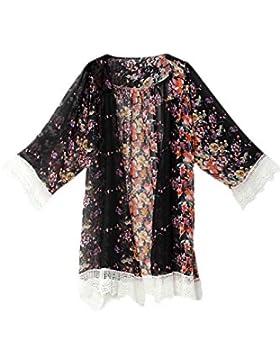 Le Donne Floreali Lace Mosaico Plissettata Aperta Davanti A Maniche Lunghe Outwear Cardigan