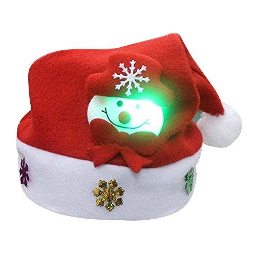 Weihnachtsmütze Nikolaus Hut Mütze mit LED Licht für 2 - 8 Jahre alt Kinder, (Mütze Santa Plüsch)