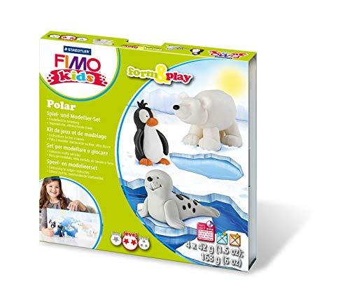 ST Polar Fimo kids form&play Set (superweiche, ofenhärtende Knete, leichte Anleitung, wiederverschließbare Box, Set mit 4 Blöcken, 1 Modellierstab und 1 Spielkulisse) ()