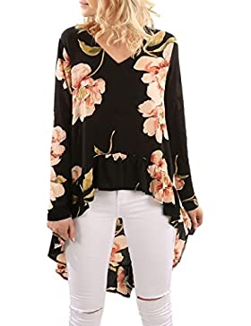 Camisa Mujer Gasa Larga Mujer Elegante Tops de Estampada Flores Dobladillo Irregular