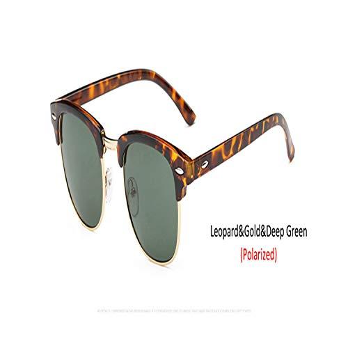 Sport-Sonnenbrillen, Vintage Sonnenbrillen, NEW Simple Semi-Rimless Sunglasses WoMänner/Männer Brand Designer Polarized Classic Oculos De Sol Gafas Retro Eyeglasses UV400 C13Leopard DeepGreen