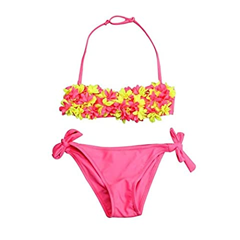 Baby Girl Swimwear, Xinantime Toddler Baby Kids Girls Solid Swimwear Flower Bikini Set Cloth (7/8Y, Pink)