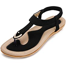 KUONUO Sandalias Mujeres Bohe Rhinestone Moda Plano Talla Grande Bohemia Sandalias Casuales Zapatos de Playa Sandalias