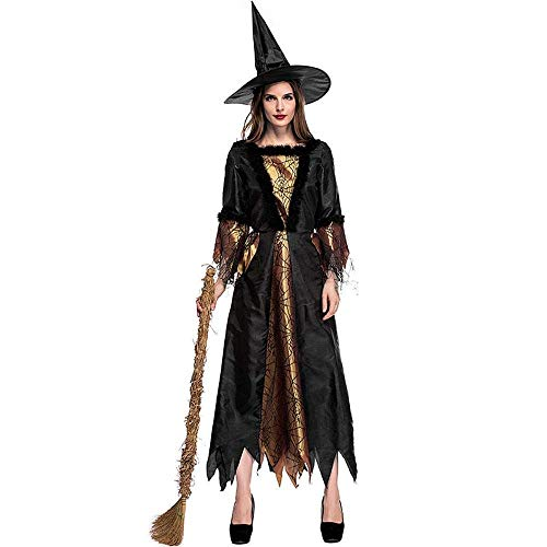 Fashion-Cos1 Erwachsene Halloween Hexe Kostüm Womens Magic Moment Hag Kostüm Sexy Spinne Hexe Cosplay Kostüme Für Halloween Party Kleid (Size : L)