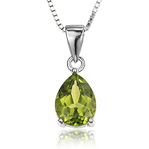 JewelryPalace Pera 1.5ct Verde Naturale Peridot Birthstone Solitaire Collana del Pendente Argento 925 18