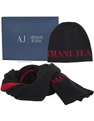 Armani Jeans Beanie & Scarf Herren Gift Set Grau