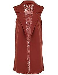 FLIRTY WARDROBE Women Ladies Crochet Floral Back Cardigan Collar Open Boyfriend Cardi Sleeveless