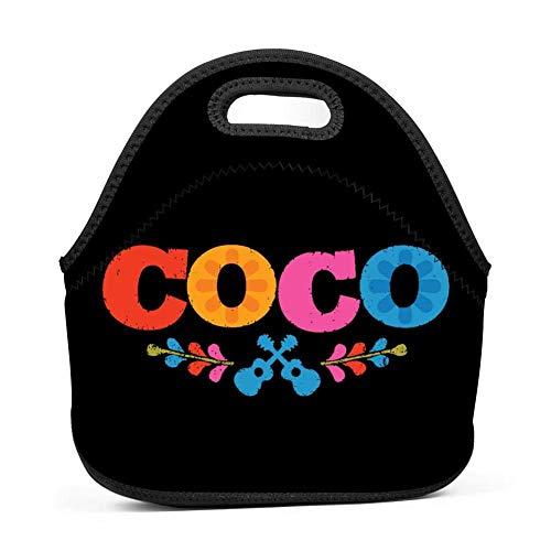 Neopren-Lunchpaket - Abnehmbarer Schultergurt - Große, wiederverwendbare Lunchpaket-Handtasche, Coco-Gitarrenmuster Halloween-Kostüme Wasserdichte Outdoor-Tasche Lunchbox mit Reißverschluss für Damen,