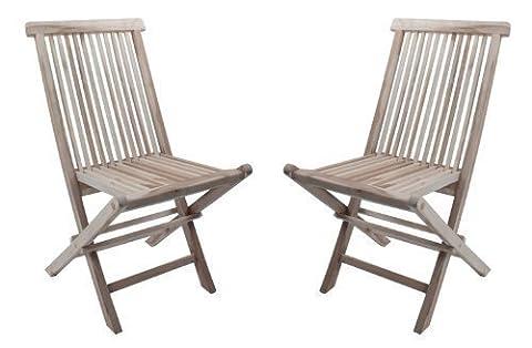 SAM® Sparset: 2 x Teak-Holz Klappstuhl, Gartenstuhl Java, zusammenklappbarer Hochlehner