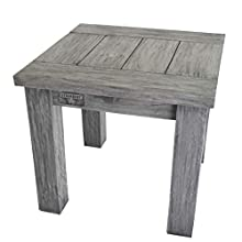 STRANDGUT07 coffee table, approx. 50 x 50 x 45 cm, teak sofa table, grey wash