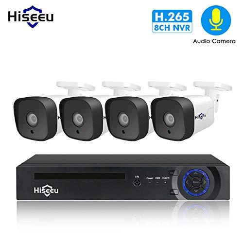 LLC - Hiseeu 8CH Sicherheitskamera System HD Full 1080P Video NVR Recorder mit 4pcs 1080P Indoor Outdoor wetterfeste CCTV Kameras 1TB Festplatte, Bewegungsalarm, einfacher Fernzugriff True H. 264 Dvr
